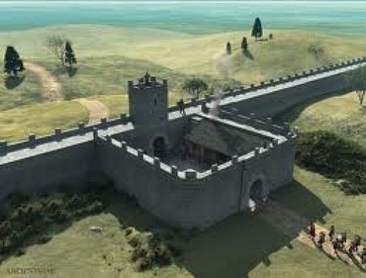 Miiecastle reconstruction, the crenellated side facing northward. Although they traded with the Picts in the north, the Romans still didn't trust them. Seen the film 'The Eagle' (with Donald Sutherland as a Roman elder)? Well worth viewing.