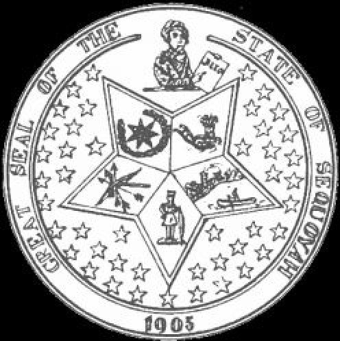 Seal of the Five Civilized Tribes; Great State of Sequoyah - a proposal for a US State in Eastern Oklahoma failed.