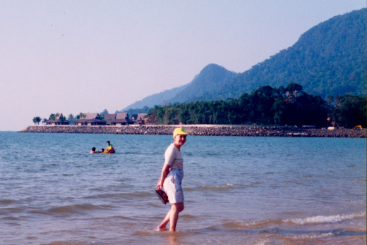 Damai Beach With its Lovely Mountain Backdrop