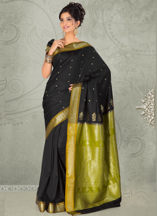Stunning Black Silk Saree. Used with Permission from Cbazaar.