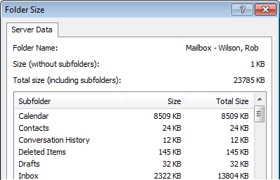 Illustration of mailbox size in Outlook 2007, allowing me to see my biggest folders.
