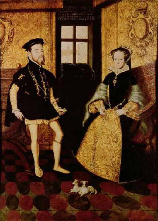 Portrait of King Phillip II of Spain and his second spouse Queen Mary I of England