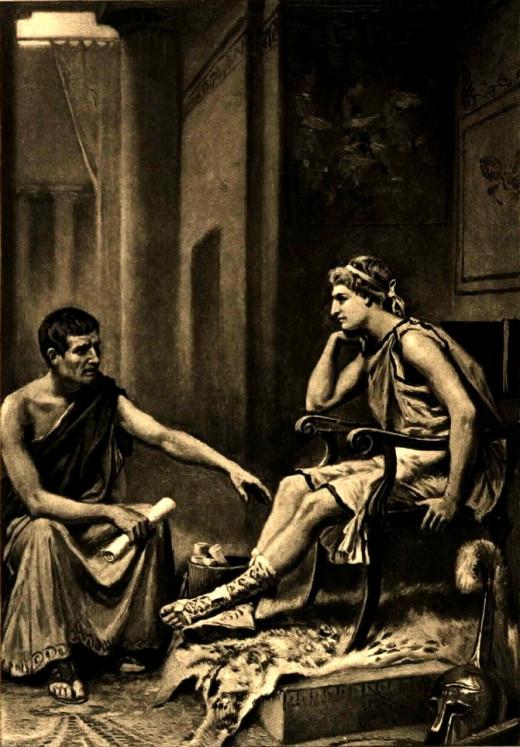 Aristotle Tutoring Alexander - Jean Leon Gerome Ferris (1863-1930)