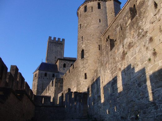Inside the outside wall of Carcassonne Castle