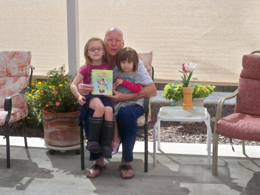 Grandpa, great granddaughters Mady and Ava