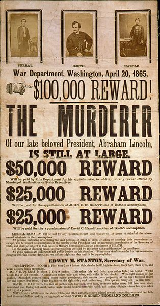 Broadside advertising reward for capture of Lincoln assassination conspirators, illustrated with photographic prints of John H. Surratt, John Wilkes Booth, and David E. Herold. (1865 -Source:Library of Congress Rare Book and Special Collections Div.)