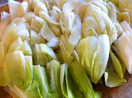Chop up the Belgian endives