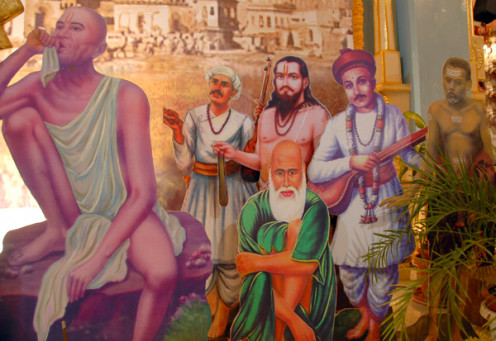 The collage of the various 'Gurus' which had been placed on the stage for Ashadi Ekadasi.