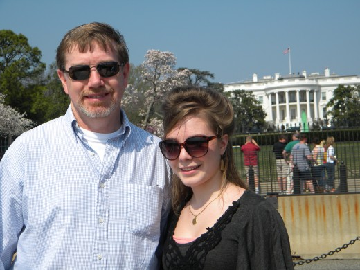"""""""Dad"""" and Anna-Sophia in front of the White House."""