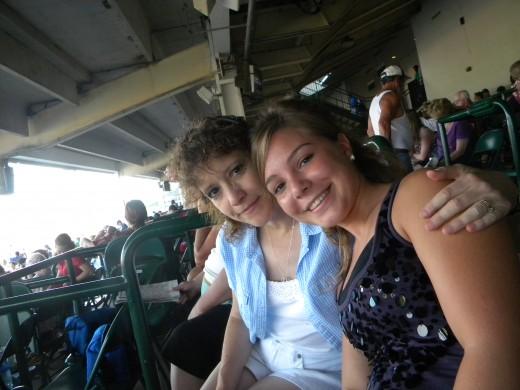 "Anna-Sophia has fun with ""Mom"" at Churchill Downs."