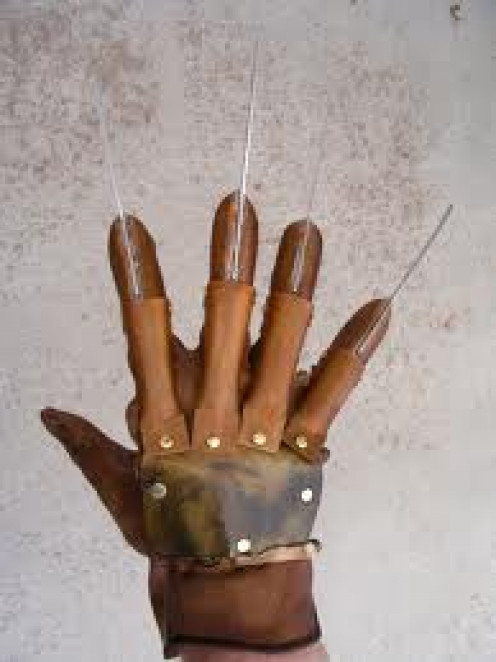 Freddy's glove from the Nightmare on Elm Street Franchise remade for Halloween costumes.