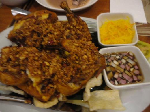 Manok ng Diablo, a deep fried spicy chicken.