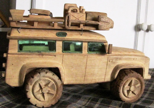 Landrover carved with remarkable detail