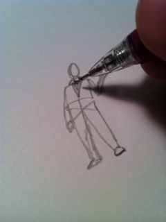 6) Now draw some lines from the shoulders for the arms.