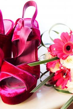 pink gerberas and pink shoes!