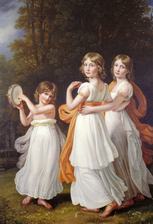 Portrait of the youngest daughters of Maximilian I of Bavaria (Sophie, Marie, and Ludovika) by Joseph Karl Stieler (1781-1858)