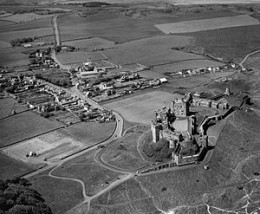 June, 1973 view of Bamburgh Castle and its village