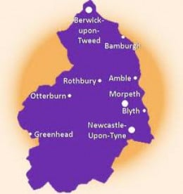 Northumberland - Bamburgh is located near top right