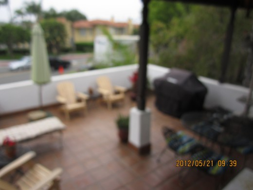 A slightly blurred view of our place in La Jolla: the patio as large as the apartment.