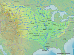 Entire Mississippi River Basin, from Canada to the Gulf of  Mexico. Note the fan shape.