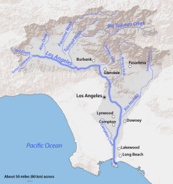 Los Angeles River Basin from the San Gabriel Mountains to the Pacific Ocean.