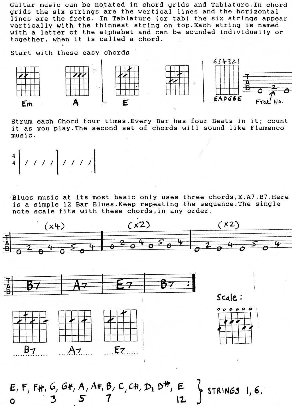 Guitar Chords Lesson - blues guitar chords