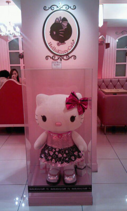 Hello Kitty greets you at the door like a good hostess.