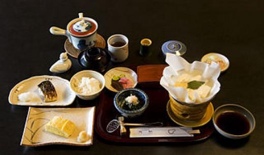 A Traditional breakfast at Tamahan Ryokan, Kyoto