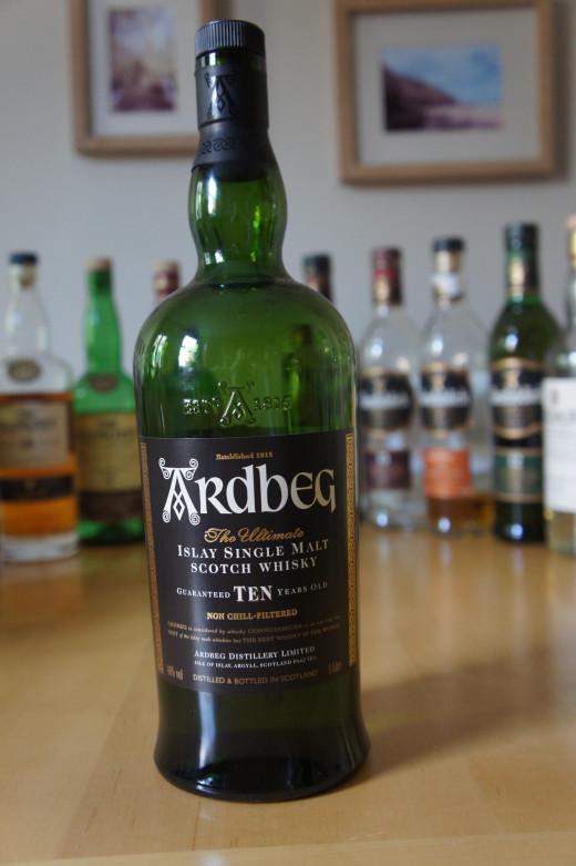 My bottle of Ardbeg 10 year old whisky