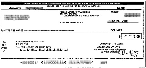 An example paper check sent from online bill pay from a major bank.