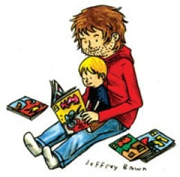 Jeffery Brown illustration of him and his son reading a book.