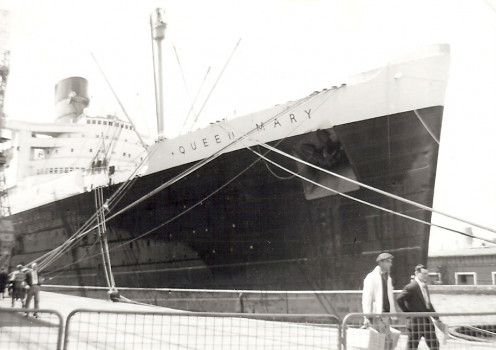 Parts of the plot-driven action-adventure movie The Poseidon Adventure were filmed aboard the RMS Queen Mary. This photo of the actual ship was taken in June, 1960.