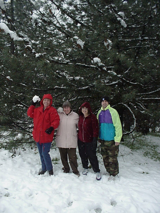 A bunch of friends enjoying a Christmas time in the snow!