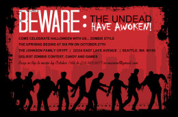A great looking invite can drive people to a party quicker than brains will drive a zombie!