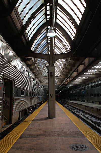 Union Station train platform.  Numbers on the column indicate Track 12 in on the left and Track 10 is on the right.