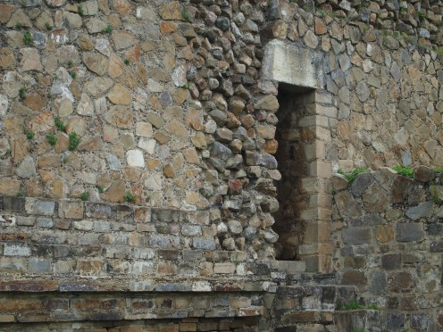 Side Entrance to one of the buildings surrounding the Grand Plaza of Monte Alban. Oaxaca, Mexico.