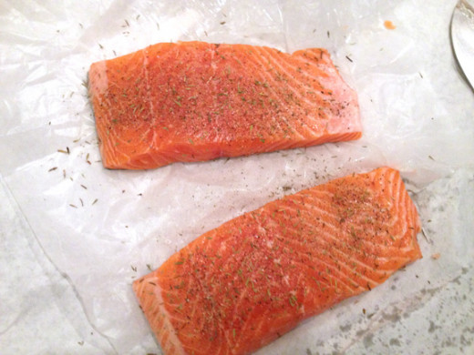 Season salmon liberally with salt and pepper right before searing.