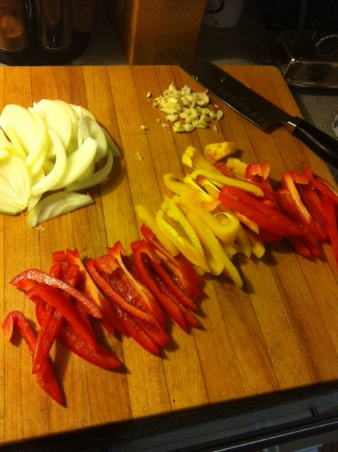 Slice your peppers and onions