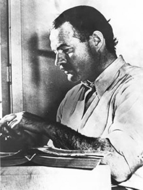 Ernest Hemingway, in 1939, posing for a book dust-jacket photo. Hemingway is known for creating well-developed, memorable characters.
