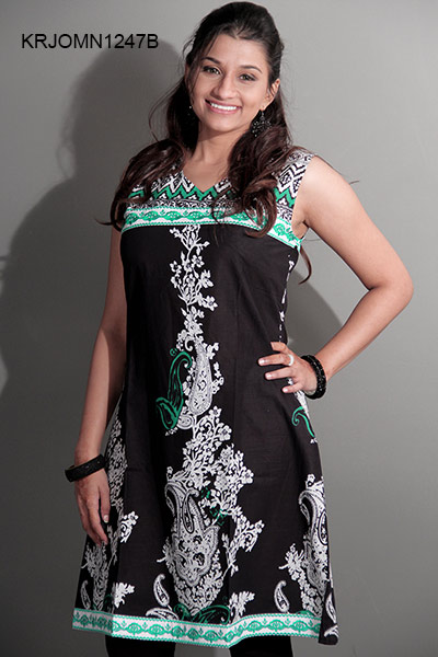 Black Printed cotton tunic by Cbazaar.