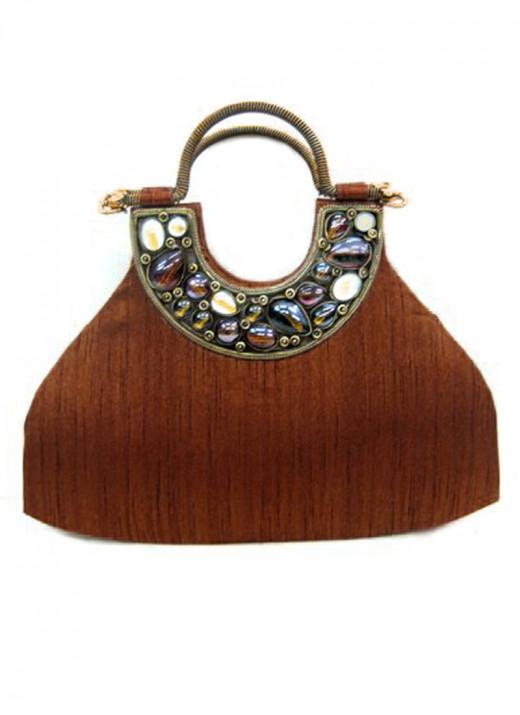 Elegant Rust Silk Handbag by Cbazaar