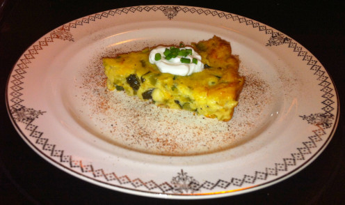 Quiche with Zucchini & Yellow Squash, Roasted Poblano Peppers, Tillamook Cheddar Cheese, Muenster & Goat Cheese Feta