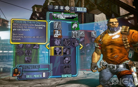 Screen shot of skill tree in Borderlands 2