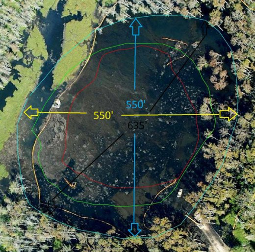 An new official map of the Louisiana sinkhole dimensions was uploaded to the Assumption Parish website on October 14, 2012: Red Line: August 19, 2012 Green Line: September 21, 2012 Blue Line: October 14, 2012 Yellow line is oil boom