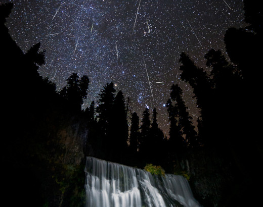 This photo of  the 2011 Orionid meteor event was taken in the Mount Shasta, Ca. area.  The photographer shot this photo using a time exposure setting. Anyone with a 35 mm camera can capture such a photo.