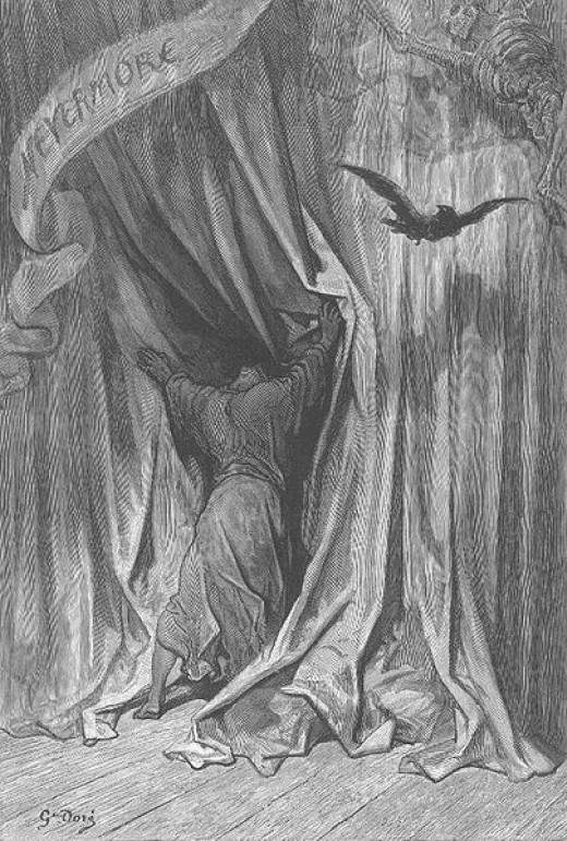 "Illustrations for an 1884 edition of E. A. Poe's ""The Raven"" by Gustave Doré."