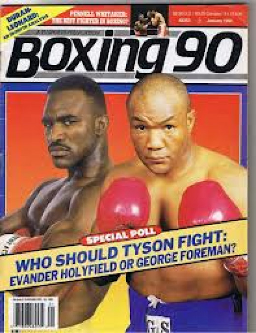 Evander Holyfield and George Foreman fought for the heavyweight title in 1990 with Holyfield winning a 12 round unanimous decision.