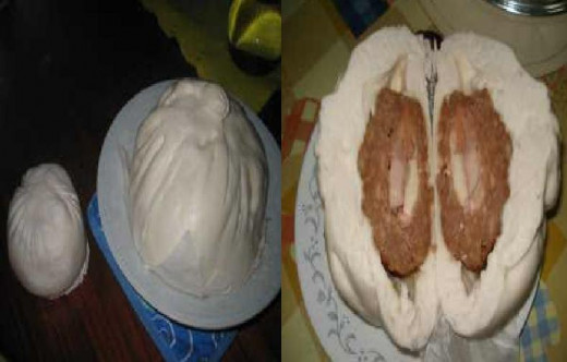 Left Side Picture: See the difference, a regular size of a siopao versus the Jumbo Siopao. Right sIde Picture: The inside of the siopao, full of meat, contains many flavor like bola-bola, asado,pork and chicken.