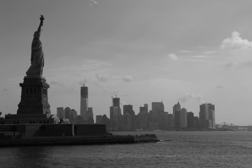 Manhattan skyline & Liberty Island