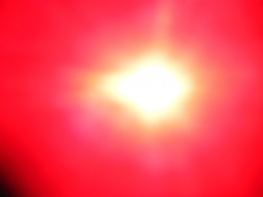 Later on in the day I captured this image of our Sun with its usual oblong blob at the 9 0'clock position.